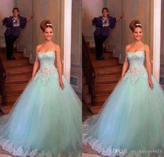 2016 New Cheap Mint Quinceanera Ball Gown Dresses Sweetheart Lace Appliqued Crystal Tulle Long Sweet 16 Cheap Party Dress Prom Evening Gowns Online with $149.75/Piece on Haiyan4419's Store | DHgate.com