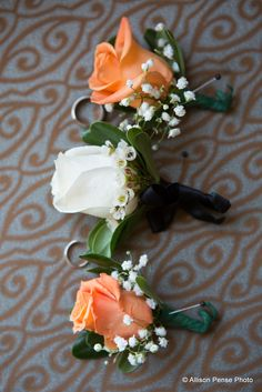 Boutineers for the groom and his groomsmen courtesy of Allison Pense Photo Spring Wedding, Our Wedding, Dream Wedding, Wedding Dreams, Garden Wedding, Wedding Stuff, Coral Wedding Decorations, Boutonnieres, Bridal Flowers