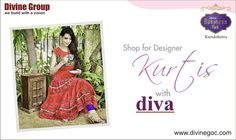 Ladies would surely find highly designed Kurtis with Diva to match steps with ongoing fashion trends. ‪#‎pareena‬