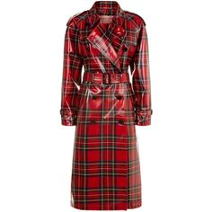 Burberry Tartan Laminated Trench Coat (€2.135) ❤ liked on Polyvore featuring outerwear, coats, cotton coat, red trench coat, trench coat, burberry trenchcoat and burberry