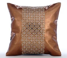 Copper Throw Pillow Covers 16x16 Sequin by TheHomeCentric on Etsy