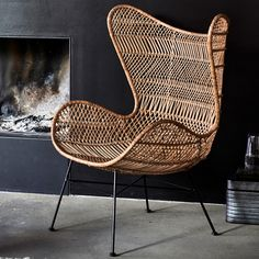 Patterned Rattan Egg Chair In Natural Eames Chairs, Dining Table Chairs, Living Room Chairs, Ikea Chairs, Dining Room, Chaise Diy, Chaise Ikea, Rattan Egg Chair, Wicker