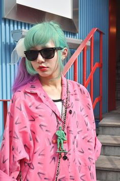 kawaii cute harajuku dyed hair teal aqua japan japanese girl