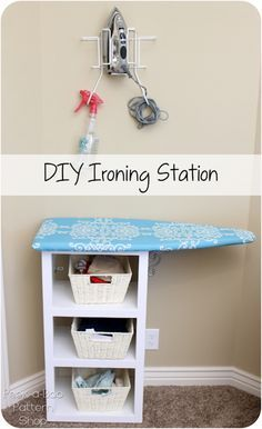 Station: The DIY customized fabric ironing board tutorial. Perfect for small spaces, this DIY ironing station can fit in a corner or side of a room.Perfect for small spaces, this DIY ironing station can fit in a corner or side of a room.