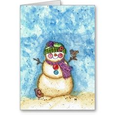 Watercolor Christmas Cards | snowman christmas card watercolor from Zazzle.com