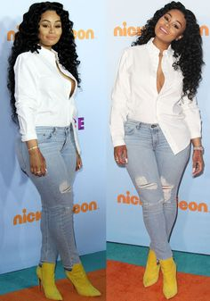 Blac Chyna covered up for the kids' program, going braless in a white buttondown shirt with one side of the hem tucked in. She paired her classy white top with distressed jeans. Celebrity Outfits, Sexy Outfits, Cute Outfits, Celebrity Women, Fashion Outfits, Holiday Fashion, Holiday Outfits, Tucked In Shirt Outfit, Black Chyna