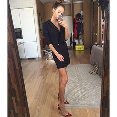 Саша Маркина, фото из инстаграм, платье-пиджак мы сделали в трёх