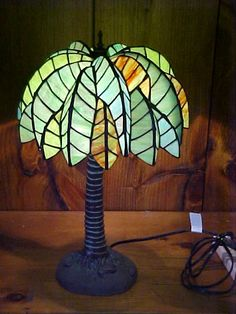 tiffany style tropical lamp | 105: Medium Palm Tree Tiffany Style Leaded Glass Lamp