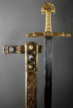 Joyeuse, the sword of Charlemagne. Coronation sword of the French kings.    It is believed it contains the Lance of Longinus within its pommel.    11th. c.