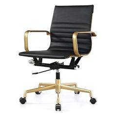<strong>Meelano</strong> Vegan Leather Mid-Back Office Chair with Arms