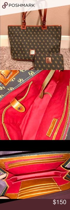 DOONEY & BOURKE handbag & wallet DOONEY & BOURKE  •Matching handbag & wallet  •black & brown print w/caramel colored pieces  Condition: like NEW! Maybe used once or twice.  Handbag + wallet= set.. purchased at Dillard's, AUTHENTIC Dooney & Bourke Bags Shoulder Bags