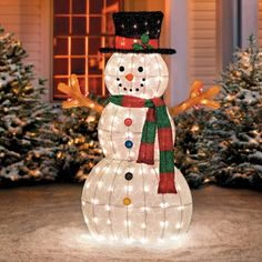 "Glistening Pre-Lit Snowman Yard Decor-48"""