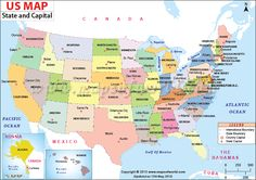 united states capitals list US Map with Capitals, 50 States and Capitals, US State Capitals List States And Capitals, United States Map, U.s. States, States America, Rhode Island, Wyoming, Idaho, New Hampshire, Iowa