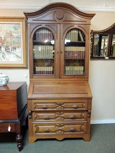1860 Chestnut Bookcase Secretary | Olde Mobile Antique Gallery