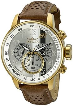 Invicta Men's 19287 S1 Rally Analog Display Swiss Quartz Brown Watch - Chronograph Functions with 60 Second, 60 Minute and 24 Hour Subdials Silver Dial with White and Black Stripes, Black, White and Gold Tone Hands and Engraved Arabic Numerals; Luminous; GMT; Mineral Crystal; 18k Gold Ion-Plated Stainless Steel Case; Brown Perforated Leather Strap Swiss-quartz Movement