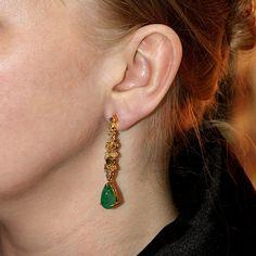 Emerald Gemstone Natural Diamond Dangle Earrings Solid 18 K Yellow Gold Jewelry #Handmade #DropDangle