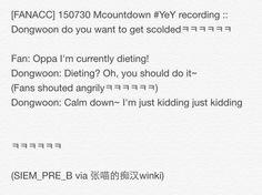 [FANACC] 150730 Mcountdown #YeY recording :: Dongwoon do you wanna get scoldedㅋㅋㅋ