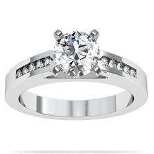 Channel Set Diamond Engagement Ring set in 18k White Gold