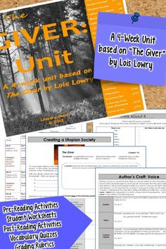 """Everything you need to teach a complete, four-week unit on """"The Giver"""" by Lois Lowry! This differentiated unit includes a variety of engaging activities, graphic organizers, and writing assignments that result in close reading, deep understanding, and critical thinking! Pre-Writing Activities, Vocabulary Quizzes, Enrichment Activities, Learning Objectives, Common Core State Standards, and Grading Rubrics all included!"""