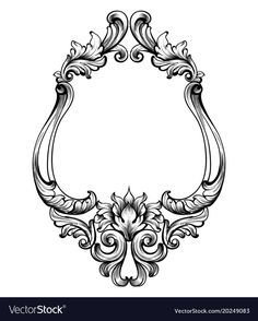 Baroque frame decor detailed rich ornament vector image on VectorStock Baroque Frame, Baroque Art, Baroque Decor, Wooden Christmas Ornaments, Wood Ornaments, Frame Vector Free, Viking Ornament, Gravure Metal, Framed Tattoo