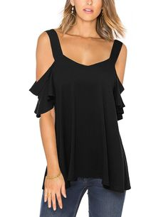 Women's Clothing, Tops & Tees, Knits & Tees, Women Sexy Ruffle Cut Out Cold Off Shoulder Short Sleeve T-Shirt Knit Tops - Black - & Tees Casual Outfits, Fashion Outfits, Womens Fashion, Sexy Outfits, Style Fashion, Black Girl Fashion, Black Tops, Beautiful Dresses, Knit Tops