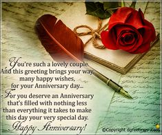 You're such a lovely couple. And this greeting brings your way many happy wishes Happy Anniversary Card Anniversary Wishes For Sister, Happy Marriage Anniversary, Wedding Anniversary Cards, Good Marriage, Anniversary Sayings, Happy Birthday Wishes Cards, Happy Wishes, Birthday Cards, Cute Couple Quotes