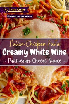 Italian Chicken Pasta in Creamy White Wine Parmesan Cheese Sauce. Parmesan cheese sauce will remind you of your favorite dining. #ItalianDishes #ItalianRecipes #ItalianCooking #ItalianMeals #CountryCooking #ParmesanCheeseSauce #ParmesanPasta #PastaCheese #PastaRecipesNoCheese Chicken Pasta Dishes, Italian Chicken Pasta, Chicken Parmesan Recipes, Garlic Chicken, Creamy Chicken, Easy Chicken Recipes, Best Easy Dinner Recipes, Cooking Recipes For Dinner, Top Recipes