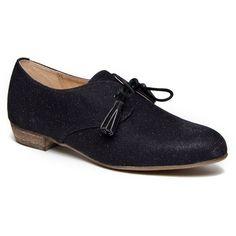 Chelsea Crew Samba Oxford Flat Shoe - Black Glitter $70