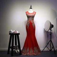 2016 Vintage Red Luxury Long Prom Dresses Mermaid Floor Length Sleeveless Gold Lace Applique vestido festa longo noite casamento