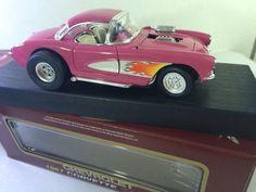 1957 Chevrolet HOT PINK CORVETTE Gasser FLAMES 1:18 Scale 1/18 DIECAST Car Road #eBayDanna