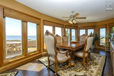 Now how's this for a view? We recently installed lots of casement windows in this gorgeous dining room overlooking the Great South Bay...  Home Remodeling / Home Improvement / Renovation / Dining Room with Wood Casement Windows from Renewal by Andersen Long Island