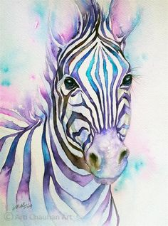 """Turquoise Stripes Zebra"" original fine art by Arti Chauhan"