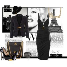 """City style-Black suit"" by sdiana-1 on Polyvore"