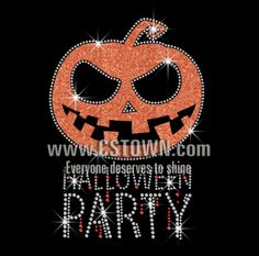 Halloween Party with Glittering Pumpkin Rhinestone Iron On