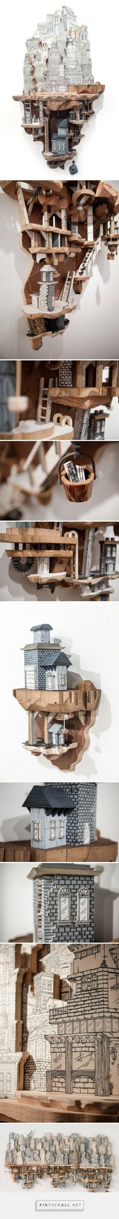 Philadelphia-based artist Luke O'Sullivan manufactures models of urban architecture from wood carvings and printed illustrations. The 32 year old American creates eccentric sculptures of miniature cities inspired by a whimsical science fiction theme - which seem to have taken his topsy-turvy houses out of a steampunk fantasy novel.