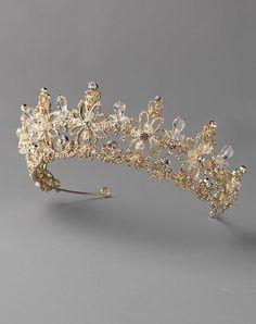 USABride Caroline Crystal Gold Crown TI-3302-G Gold Tiara