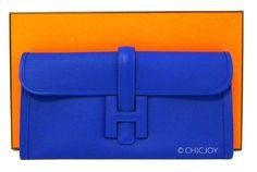 Hermes Blue Electric Jige Elan 29cm Pochette Epsom Clutch | World's Best #hermes