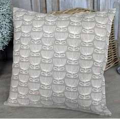 Flower Print Taupe Cushion - £22.00 - Hicks and Hicks