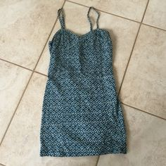 Free People Bodycon Sundress Super cute Free People tight sundress in a turquoise and white pattern! Free People Dresses Mini