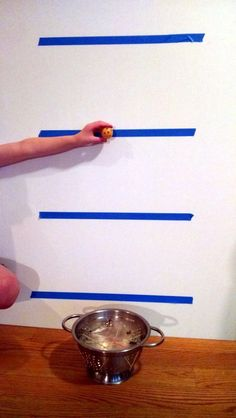 """This is such a fun STEM idea…use a colander and rubber band to make a trampoline! Then test it by dropping a ball on it. Would be so easy to do at home or in the classroom. Great blog post from """"STEM Activities for Kids"""""""