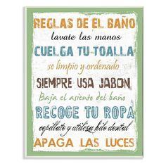 Reglas De El Bano Multicolor Wall Plaque Art - WRP-1118_WD_10X15