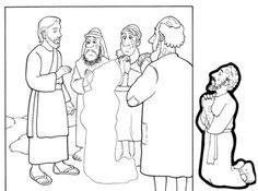 Tarjeta DIEZ LEPROSOS. por un lado de la tarjeta se pega al leproso pidiendo ser curado entre los otros leprosos. Por el otro lado se pega el leproso sano agradecido