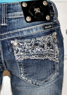 WANT!! PRETTY In LACE Miss Me Jeans Denim And Lace, Miss Me Jeans, Jeans Pants, Bling Bling, Girly, Comfy, Fancy, Thoughts, Pretty