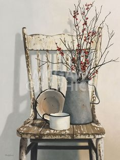 Love this for a corner piece in a rustic kitchen.old tin watering can sitting on an old chair or table French Country Rug, French Country Bedrooms, French Country Decorating, Country Bathrooms, Country Kitchens, Country Homes, Open Kitchens, Rustic Italian, Italian Home