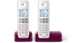 Oferta: 46.7€ Dto: -15%. Comprar Ofertas de Philips D2302WP - Teléfono Dúo inalámbrico con pantalla iluminada de 4.6 cm, 16hrs conversación, blanco y morado barato. ¡Mira las ofertas!