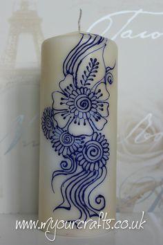 Available with hand drawn… Henna Mandala, Henna Mehndi, Henna Art, Hand Henna, Church Candles, Pillar Candles, Henna Candles, Flower Henna, Henna Designs Easy