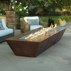 Copper Spartan Fire Pit backyard design diy Copper Spartan Fire Pit backyard design diy ideas Linear Trough Gas Fire Pit Insert - Backyard Fire Features: Some Like it Hot! Fire Pit Decor, Diy Fire Pit, Fire Pit Backyard, Direct Vent Gas Fireplace, Vented Gas Fireplace, Fireplace Outdoor, Modern Fireplace, Fireplace Wall, Gazebo