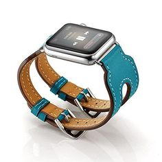 860f8c4121234 42mm DOUBLE Buckle Blue Genuine Leather Band Strap for Apple Watch Series 2  1