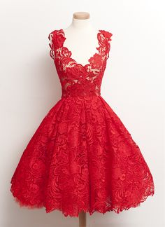 On Sale Colorful Vintage Prom Dresses Vintage 2018 Scoop Red Lace Knee-Length Homecoming Dresses Prom Gowns Robes Vintage, Vintage Dresses, Vintage Prom, Vintage Lace, Vintage Embroidery, Vintage Style, Vintage Inspired, Retro Vintage, Pretty Dresses