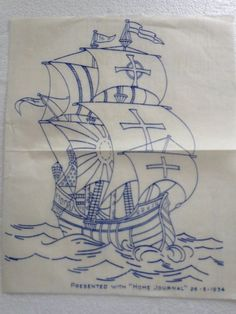 vintage 1934 embroidery 2 transfers  Home Journal   retro galleon, flowers